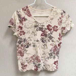 Sonoma Cream & Floral Print Short Sleeve Tee